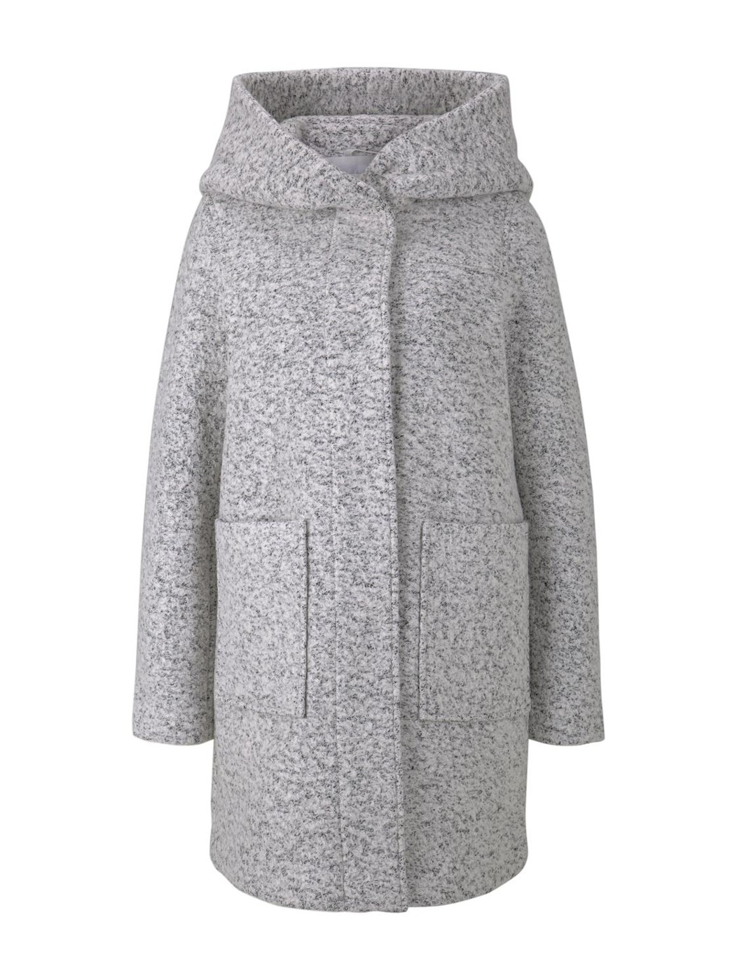 boucle wool coat with hood - Damen