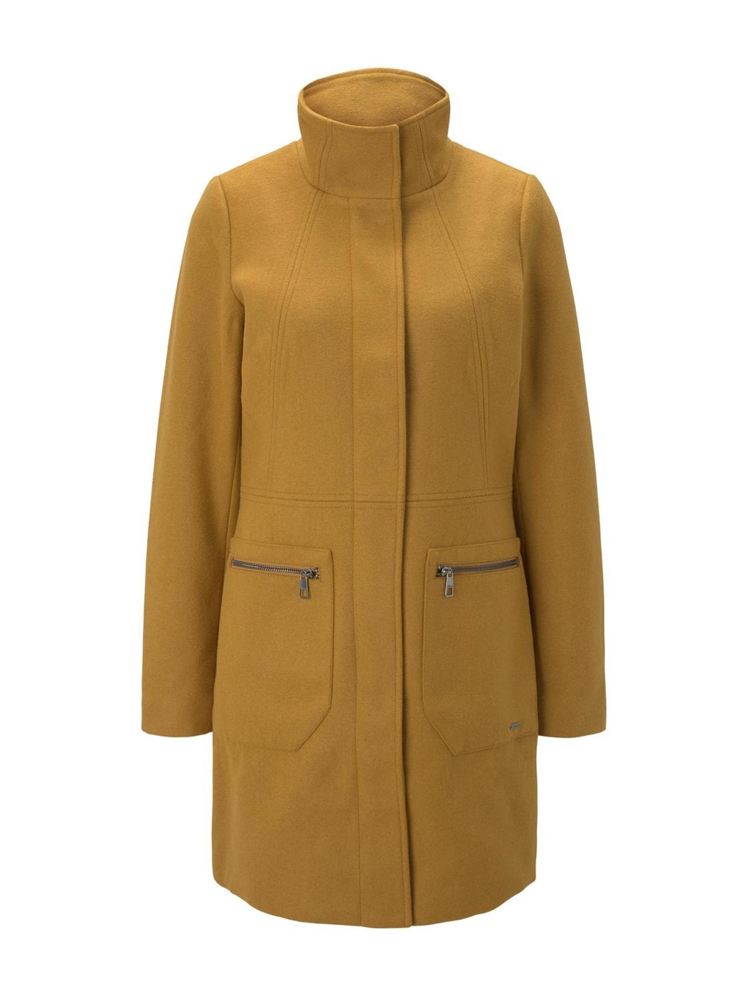 basic wool zipper coat - Damen